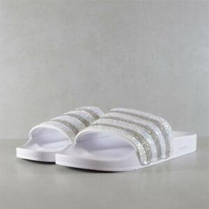 Mens Adidas Adilette White/Irridescent Slides (TGF63) RRP £29.99