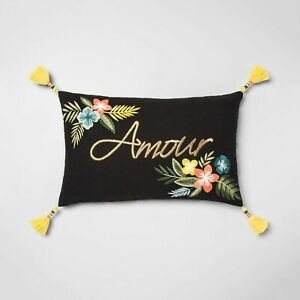"""""""Amour"""" Love in French Floral Lumbar Throw Pillow Black Opalhouse Valentine's"""