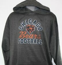 New Mens Nfl Majestic Chicago Bears Charcoal Grey Screen Printed Pullover Hoodie