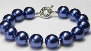 Fashion 8mm 10mm 12mm 14mm Blue South Sea Shell Pearl Round Beads Bracelet 7.5''