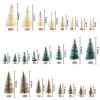 US 24 x Mini Christma Tree Fake Pine Tree Sisal Bottle Brush Snow Frost Tree