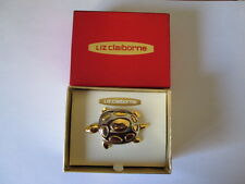 New Liz Claiborne Silver & Gold Spotted Turtle  Pin Brooch in Original Box