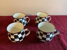 Mackenzie Childs Enamel Courtly Check Handled Mugs set of 4- Damaged