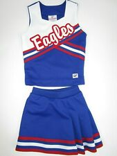 "New Girls Rwb Eagles Cheerleader Uniform Outfit Costume 24"" Top Elastic Skirt"