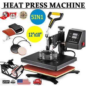 5in1 T-shirt Mug Hat Plate Cap Heat Press Machine Sublimation Printing Transfer