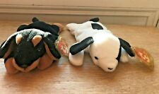 """TY Retired Beanie Dogs (2)  DOBY & SPOT SOFT TOYS 7"""" long with swing tags VGC"""