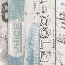 Surf Bois Panneau Papier Peint Bleu - As Creation 959503 Neuf en Relief