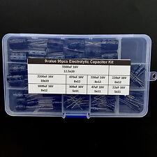 9value 90pcs Electrolytic Capacitor Assorted Kit Box Assortment 16v 22uf3300uf