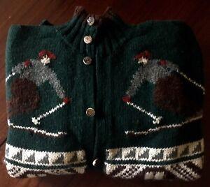 Vintage POLO Ralph Lauren HANDKNIT Downhill Skier Snowflake Cardigan Sweater XL