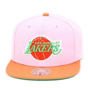 "Mitchell & Ness Los Angeles Lakers Snapback Hat Cap ""Rainbow Sherbet"" Light Pink"