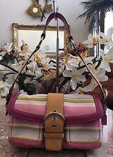 COACH Soho Twill Multicolor Stripe Sateen Tan Brown Leather Bag #1886 EUC! $258