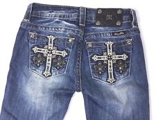 Miss Me Women's Jeans Mid-Rise Skinny Cross Fleur De Lis Distress Wash Size 25