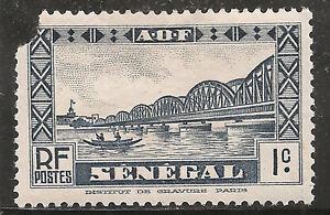 "Senegal Stamp - Scott #142/A29 1c Violet Blue ""Faidherbe Bridge"" OG Mint/LH 1935"