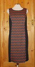 NINE WEST black grey rust orange stripe stretch shift wiggle bodycon dress 14 42