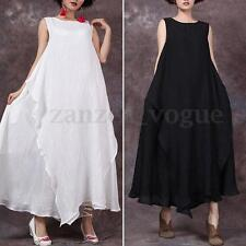 Zanzea Women Retro Sleeveless Summer Loose Plus Kaftan Long Maxi Dress Sundress