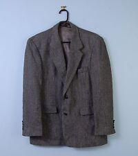 """Vintage Oakton Tweed Jacket Black & Grey Herringbone Wool Blazer 42"""" Short 42S"""
