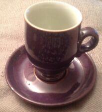 Vintage Retro Denby Pottery Stoneware Purple/Plum Mug/Cup With Saucer