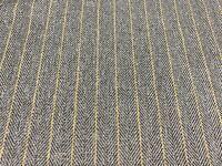 Jamerson Herringbone Stripe Ochre/ Grey 140 cm wide Upholstery/Curtain Fabric