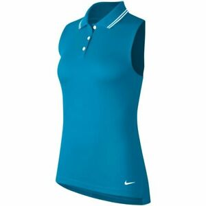 New Nike Sleeveless Golf Dri-Fit Teal Dry Victory Polo Laser Blue BV0223 Large