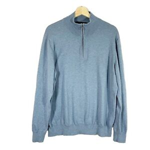 BROOKS BROTHERS Men's Sz XL Pullover Sweater Blue Cotton Long Sleeves 1/4 Zip