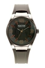 REACTION KENNETH COLE BLACK TONE,GRAY SILICONE BAND,GOLD ACCENT WATCH RK50343003