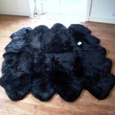 Genuine OCTO Real Sheepskin Rug - Super Soft Silky Black Wool