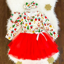 usa kids toddler baby girl princess lace tutu dress party skirt headband outfit - Long Christmas Dresses