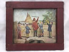 FRAMED ARTWORK-5 BOYS PLAYING INSTRUMENTS-OVER SIZED ARMY UNIFORMS-MARCHING BAND
