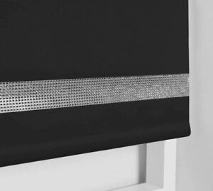Plain Black Poly-Fabric Diamante Eyelet Roller Blinds Child-Safe Easy Fit Kit