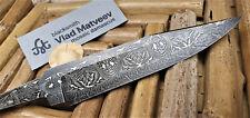 """Mosaik Damastmesser Klinge """"GREEN"""" Jagd damascus knife blade lame damas"""
