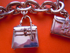 AUTH HERMES 925 SILVER bracelet Chaine d'Ancre with BAG charms