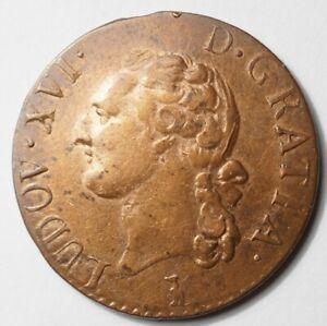 LOUIS XVI : JOLI & RARE 1/2 SOL 1790T NANTES