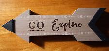 GO EXPLORE Rustic Camper Log Cabin Hiker Lodge Home Decor Wood Arrow Sign NEW