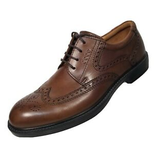 Ecco Mens EUR 42 US 9 Wingtip Brogue Dress Shoes Brown Genuine Leather Oxford