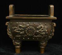 Chinese Palace Bronze Copper Fu Dragon Royal Ding Incense Burner Censer Marked