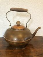 Vintage copper tea pot kettle wood handle