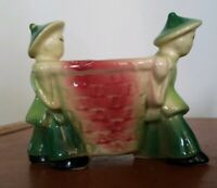 Vtg Shawnee Ceramic Planter • Asian Figures Carrying a Large Colorful Basket