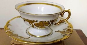 Footed Cup & Saucers 14K Gold Trim Mint!