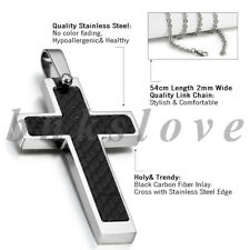Men's Silver Stainless Steel Black Carbon Fiber Crucifix Cross Pendant Necklace