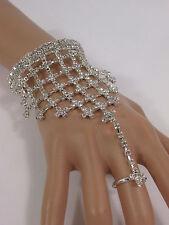 Fashion Bracelet Slave Ring Rhinestones Wedding N. Women Silver Metal Hand Chain