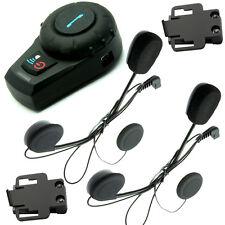 FreedConn Motorcycle Bluetooth Helmet Headset Intercom+2Pcs Earpiece+Clamp Mount