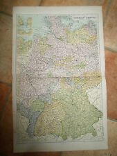 Old Map GERMAN EMPIRE WESTERN PORTION - From Bacon's Popular Atlas 1907 (No 22)