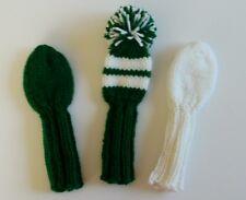 "3 Dk Green/White/Stripe GOLF CLUB HEAD COVER 8"" fits putter, iron, hybrid wedge"