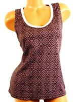 Danskin now brown pink plus size dotted diamond scoop neck active tank top XL
