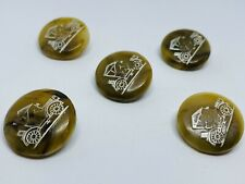 (5) Antique 1910 Ford Model-T Promotional Engraved Celluloid Round Shank Buttons