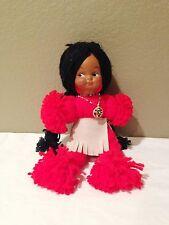 "Vintage Handmade Yarn American Indian Doll - Girl  12"""