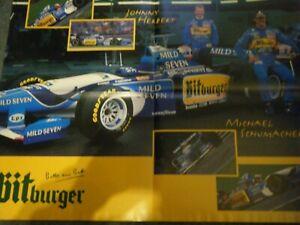 MICHAEL SCHUMACHER BITBURGER 1995 BENETTON POSTER AFFICHE JOHNNY HERBERT F1