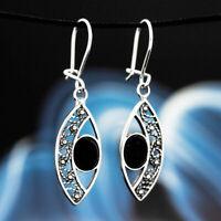 Onyx Silber 925 Ohrringe Damen Schmuck Sterlingsilber H0216