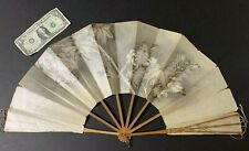 Antique Vtg Wood & Paper Women's Folding Hand Fan~Hand Painted ~Lace up Guard