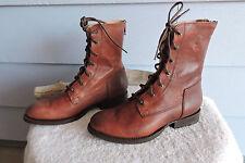 Women's Frye Jaimie Artisan Lace Up Back Zip Leather Boots Whiskey Size 5.5